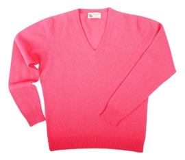 Wendi, Couleur Grenadine, Pull col V en 100% lambswool - Vêtements laine geelong