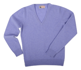 Wendi, Couleur Water Iris, Pull col V en 100% lambswool - Vêtements laine geelong