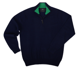 Col zippé Cachemire Navy/Green - Vêtements laine geelong