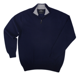 Col zippé Cachemire Navy/Grey - Vêtements laine geelong