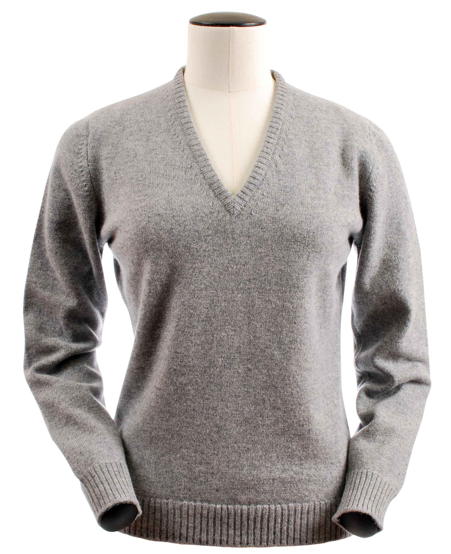 Wendi, Couleur Grey Mix, Pull col V en 100% lambswool - Vêtements laine geelong