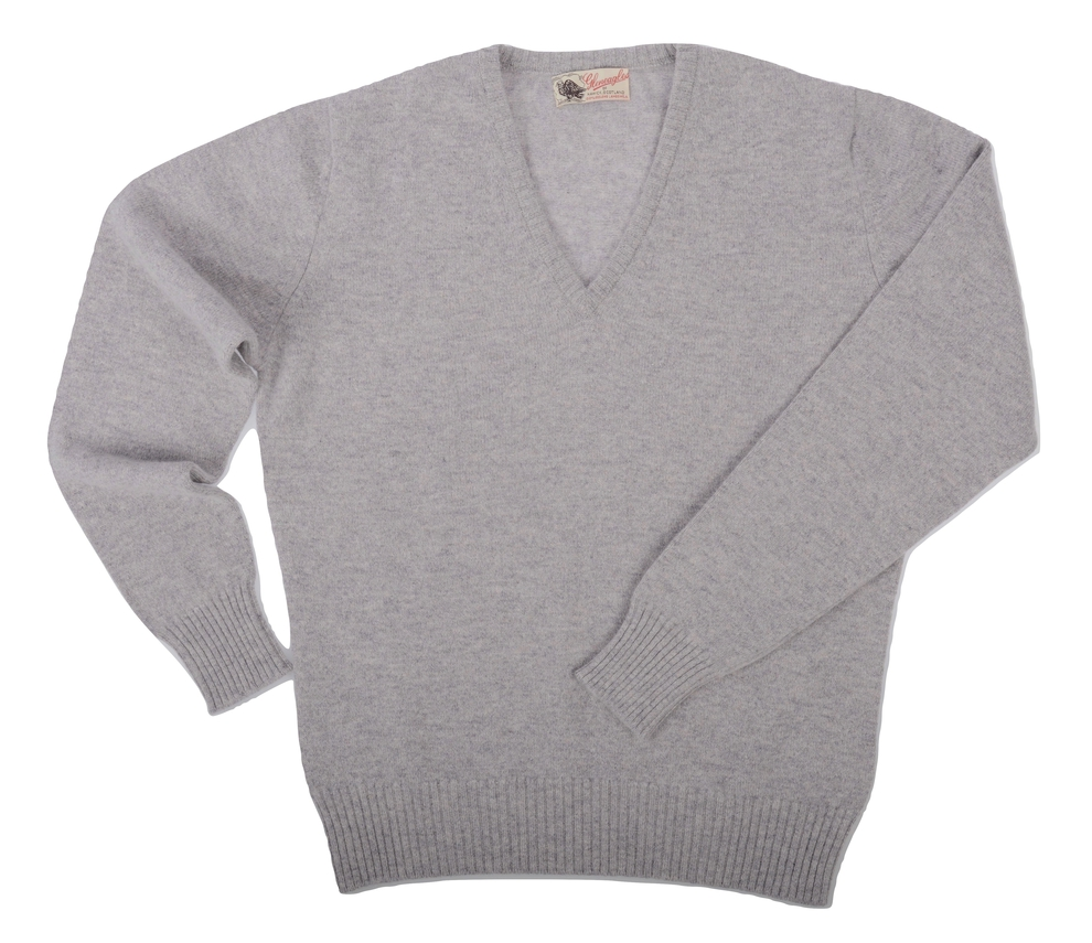 Wendi, Couleur Light Grey, Pull col V en 100% lambswool - Vêtements laine geelong